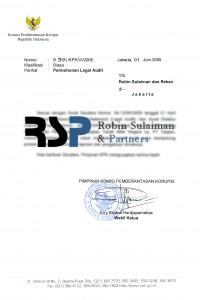 Surat master permohonan dari KPK